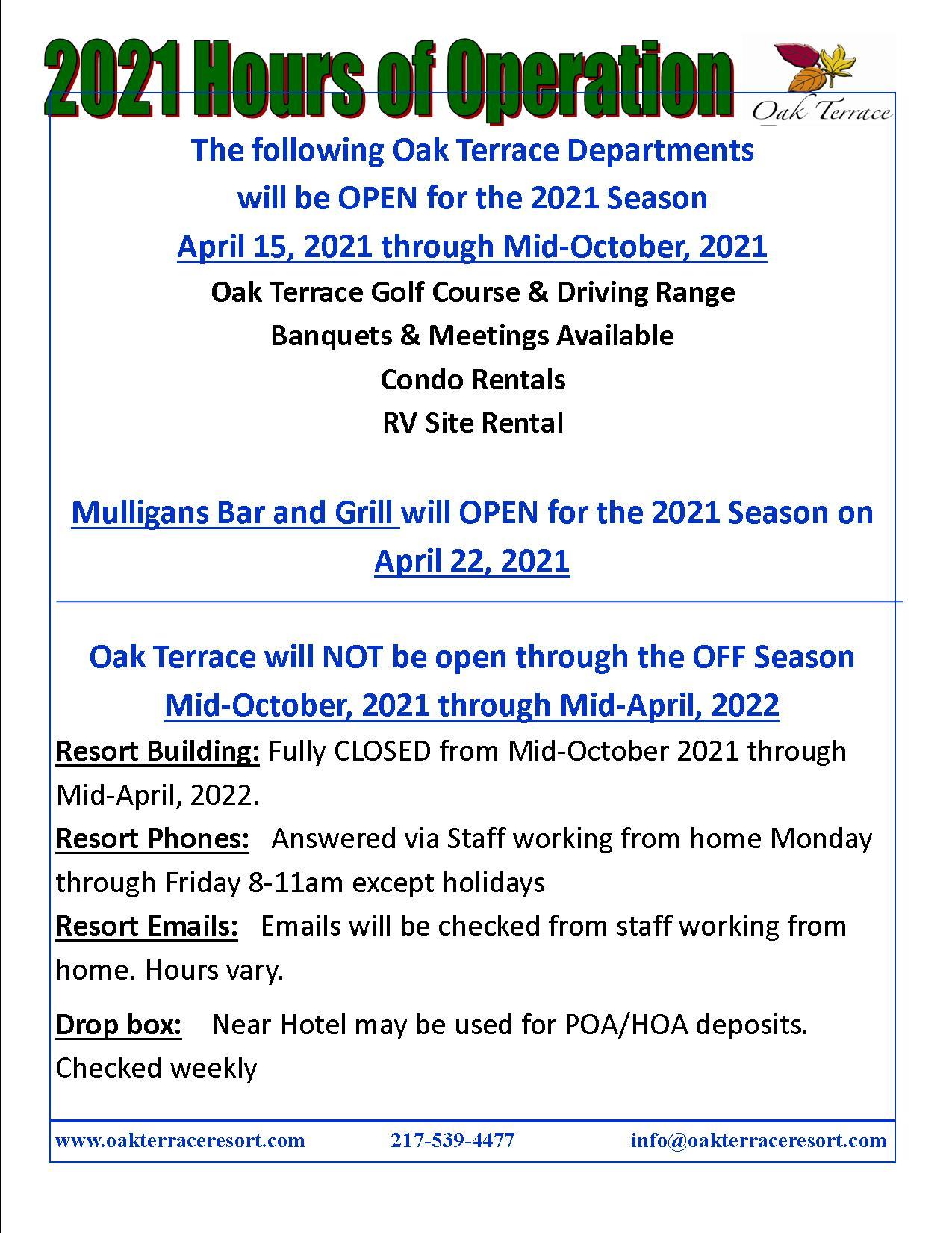 2021 Resort Hours of Operation2